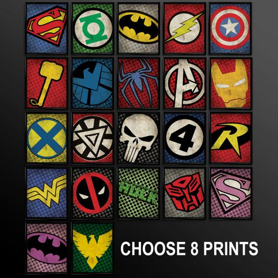 Set of 8 Superhero Kids Wall Art Decor Nursery Superman Batman Robin Comic Book Superheroes Spiderman Green Lantern Flash