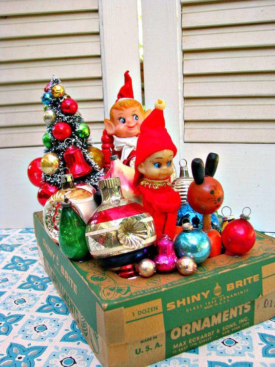 SO FUN Vintage Shiny Brite Box of Whimsical Christmas JOY Decoration