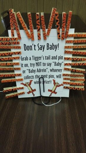 Winnie the Pooh baby shower, Don't say baby game!! With tigger tails. Colored with paint markers