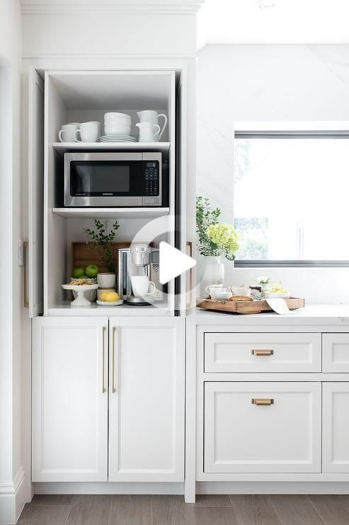 Cottage Kitchen Design With White Shaker Style Cabinet Doors And Gold Hardware Modern Farmhouse In 2020 Home Decor Kitchen White Kitchen Design Kitchen Renovation