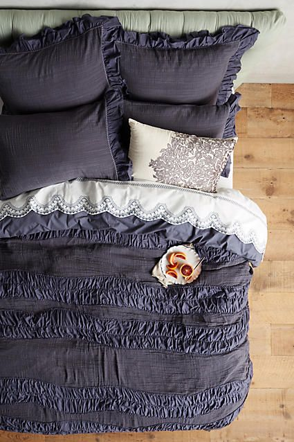 ruched crinkled cotton duvet