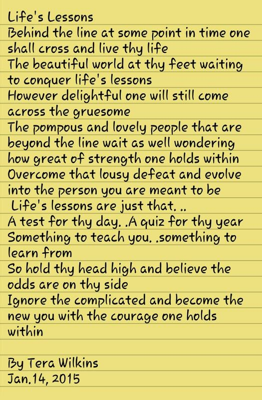 Life's Lessons. ..just keep goin