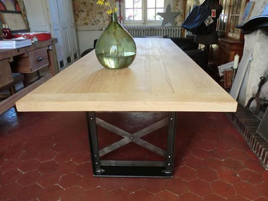 Table métal & bois , sur mesure ! plateau chêne ...