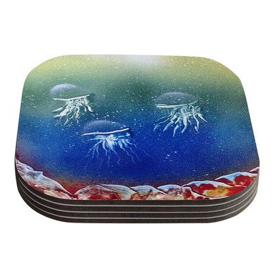East Urban Home Underwater Aliens by Infinite Spray Art Coaster