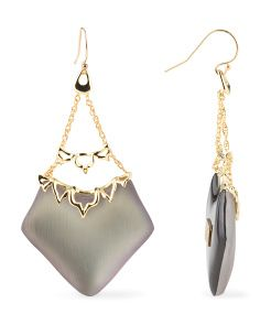 image of Georgian Lace Chandelier Labradorite Lucite Earrings