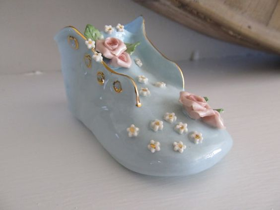 Vintage Baby Gift Porcelain Shoe French Limoges Baby hand painted flowers Antique Baby Gift Nursery Decor Vintage Baby Shower Cake Topper on Etsy, $10.00