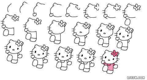 Adim Adim Hayvan Cizimleri En Kolay Hayvan Cizimleri Evimin Altin Topu Hello Kitty Boyama Sayfalari Mandala Cizim