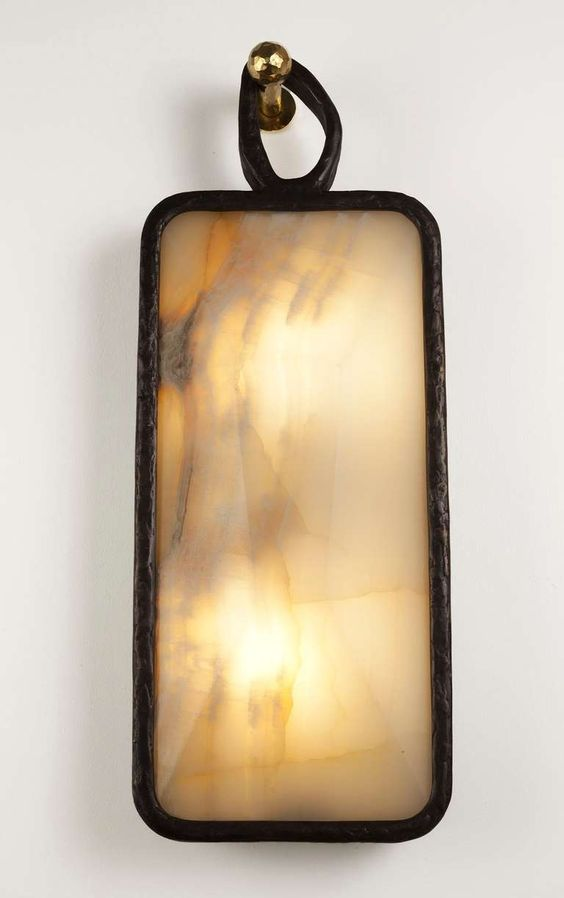 """""""Earring"""" Bronze and Onyx Sconce by Achille Salvagni image 2"""