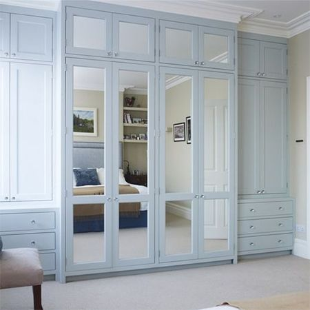 mirrored closet and wardrobe