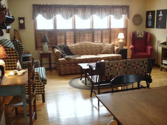 Primitive living room decorating pinterest window for Primitive interior designs