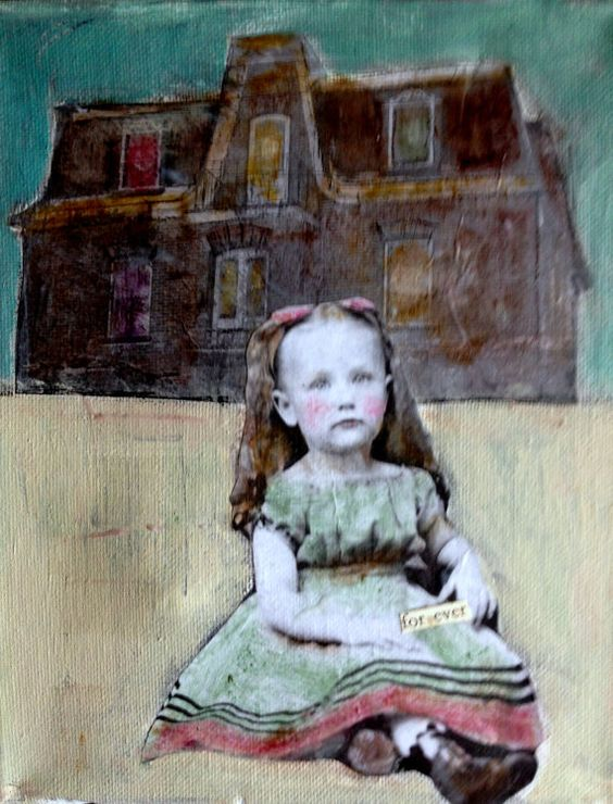 """Forever"" vintage girl with old Victorian house original.(just a little dark) mixed media painting by Canadian artist heather Murray"