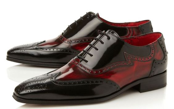 Jeffery West Black/Red wingtip brogue 'Rock-a-Billy' oxfords - add black jeans, a leather jacket and slicked back hair and your ready to hit the streets.