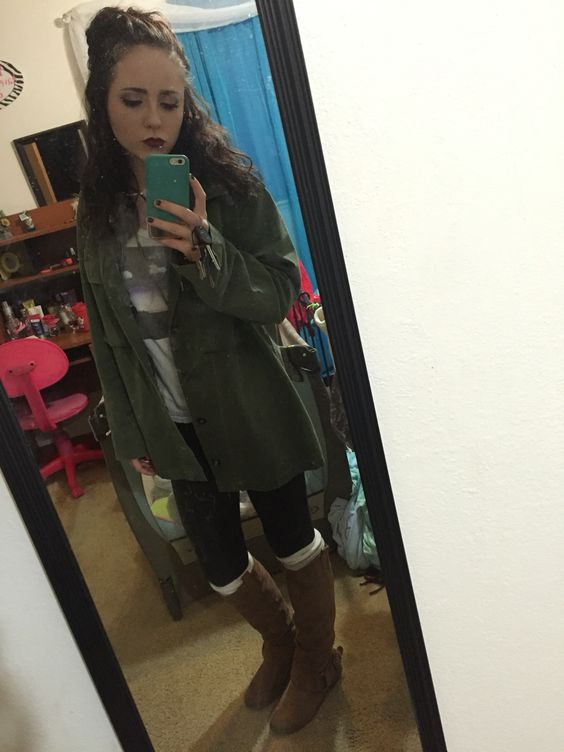 Winter outfit with a long necklace, phases of the moon shirt, hollister jacket with a forest green over sized jacket, knee high socks and riding boots and Plum lipstick. ❤️