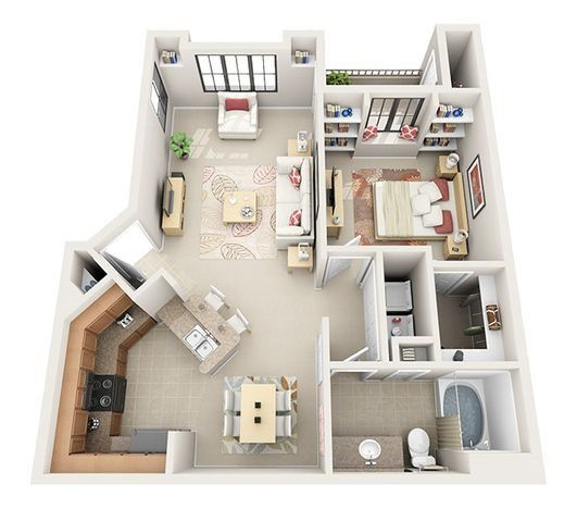 The Aston One Bedroom One Bathroom Apartment Sims House Sims House Design Sims House Plans