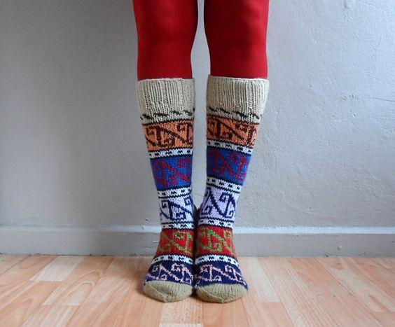 Knee Hight Hand Knit Wool Socks, Wool Socks, Winter Accessories on Etsy, $39.00