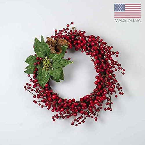 15 inch Red Berry Holiday Wreath - Merry Berry The Firefly Garden