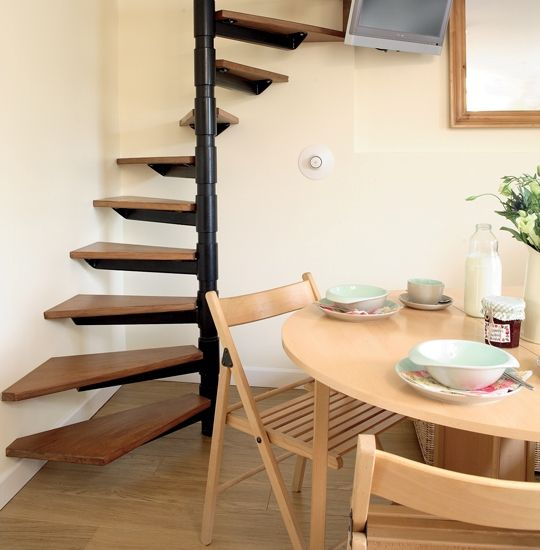 Staircases small spaces and spiral staircases on pinterest - Small space staircase ideas concept ...