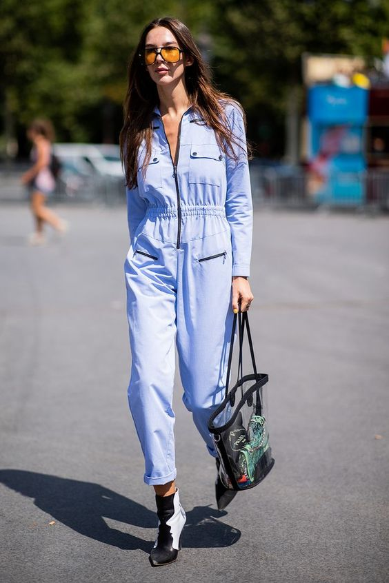 Haute Couture Fashion Week street style July 2018: show-goer wearing blue jumpsuit