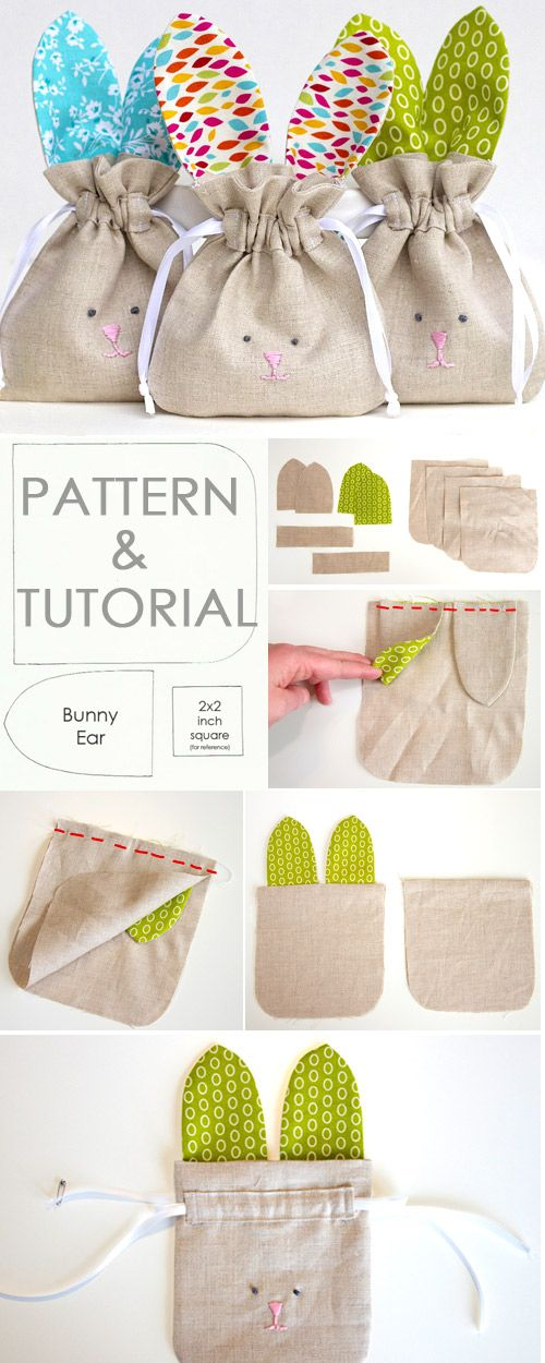 How to Sew simple Drawstring Bunny Bag. Tutorial & Pattern http://www.free-tutorial.net/2017/05/drawstring-bunny-bag-tutorial.html: