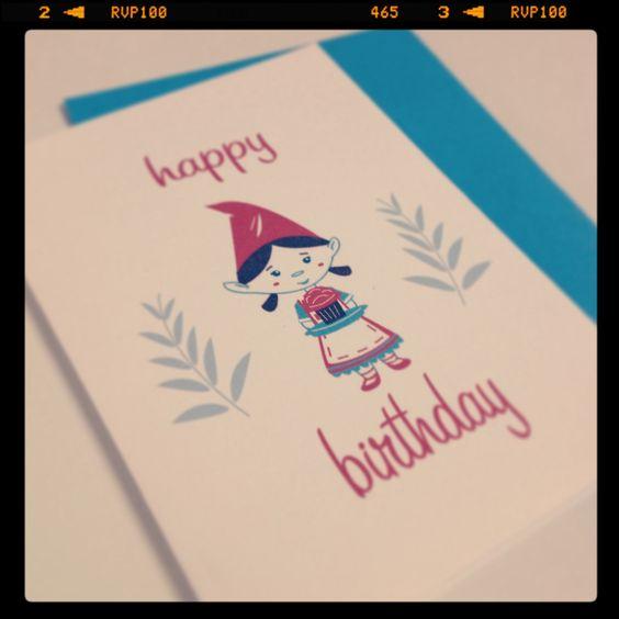 Little gnome girl birthday card