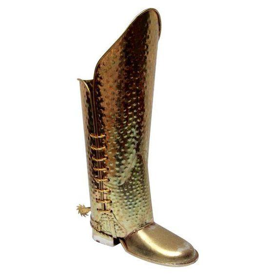 Brass Cowboy Boot Umbrella Stand
