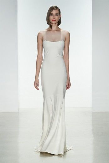 """Amsale Spring 2015 """"May"""" gown. Heavy crepe slim fit to flare gown with #illusion neckline and covered buttons to waist."""