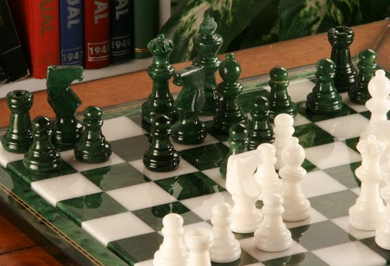 Exceptional Green White Alabaster Chess Set With Wood Frame Sets And Crafty. Picturesque  Design Stone ...