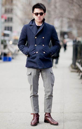 Cool blue peacoat. Follow Sneak Outfitters for more cool street