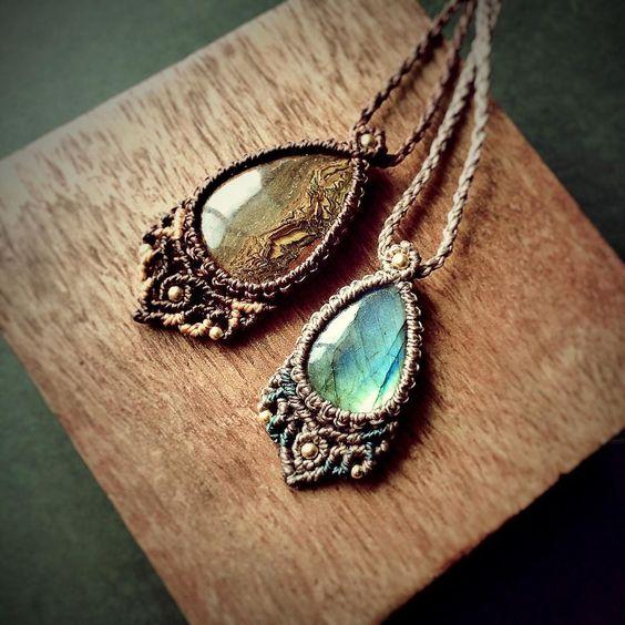 Labradorite and iron tiger eye macrame necklace. …