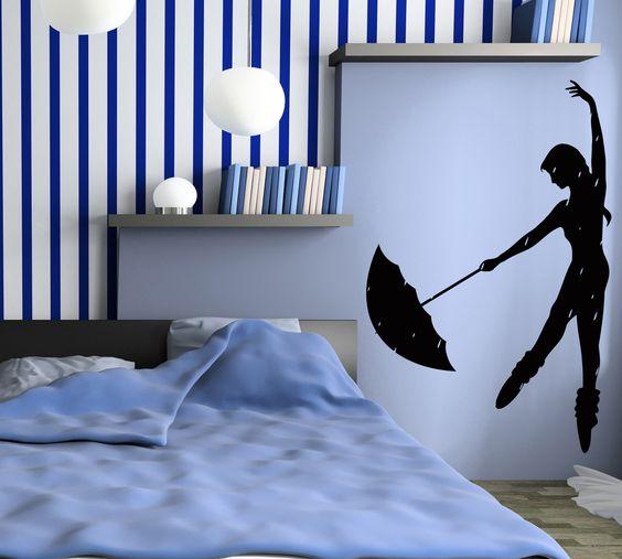 Decal Vinyl Wall Stickers Rain Dance Umbrella Girl Romantic Bedroom z1094