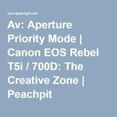 Av: Aperture Priority Mode | Canon EOS Rebel T5i / 700D: The Creative Zone | Peachpit