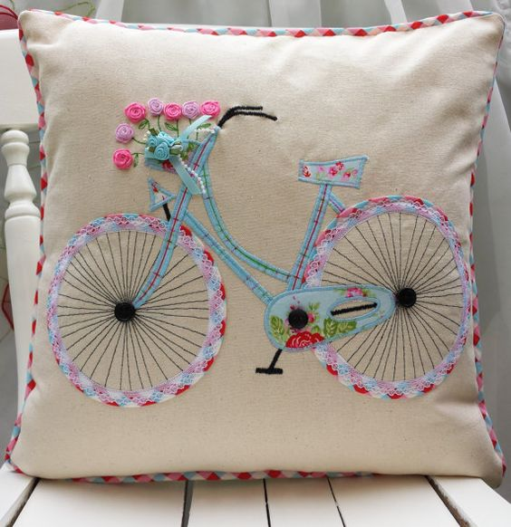 "Bicycle Pillow cover Cushion cover Cath Kidston Other Fabric Home Décor Unique Handmade Applique Birthday gift 16""x16"":"
