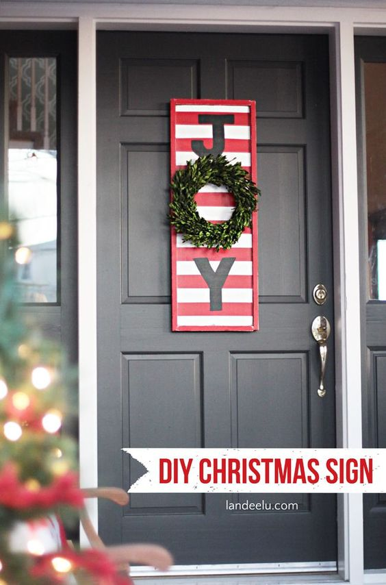 Joy diy christmas sign signs porches and front porches for Outdoor christmas signs