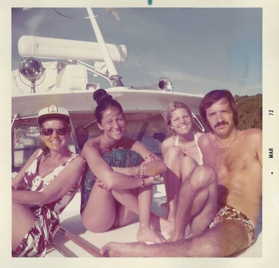 Georgia Pelham (Cher's mom) Cher Bono Georganne LaPiere (Cher's sister) & Sonny Bono boating on a sunny day 1972