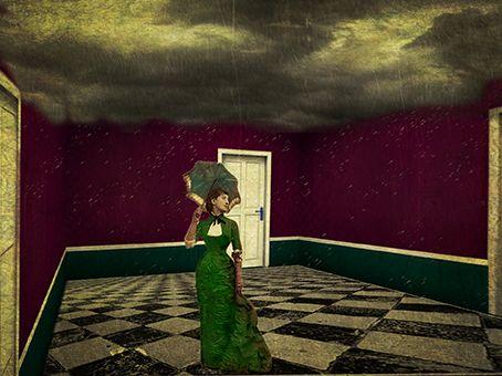 PIOGGIA NELLA STANZA OTTAVIA E SILVIA A. PEROSINO Collage fotografico ,elaborazioni digitali. dimensioni 32x24 cm. L'immagine della donna incarna il relax , la serenità imperturbabile difronte alle avversità qui rappresentato da un temporale estivo .