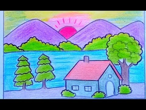 كيفية رسم منظر طبيعي سهل بالرصاص رسم فصل الربيع How To Draw Easy Scenery Youtube Nature Drawing For Kids Flower Drawing Drawing For Kids