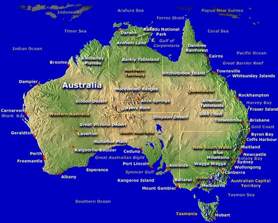 Large Easy To Read Map Of Australia Google Search