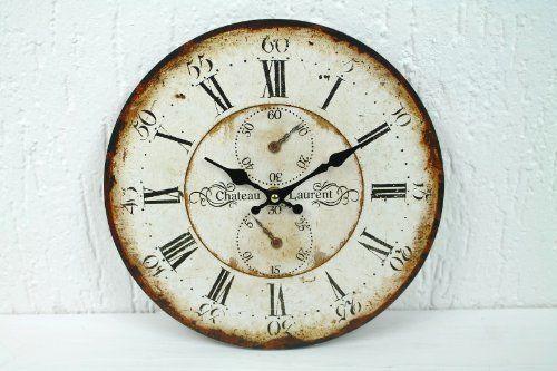 vintage wanduhr chateau laurent chronometer 28cm uhr f r k che flur wohnzimmer garten. Black Bedroom Furniture Sets. Home Design Ideas