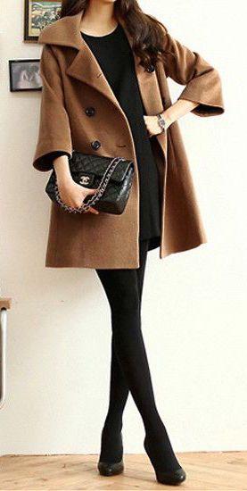 #winter #fashion / all black + brown coat