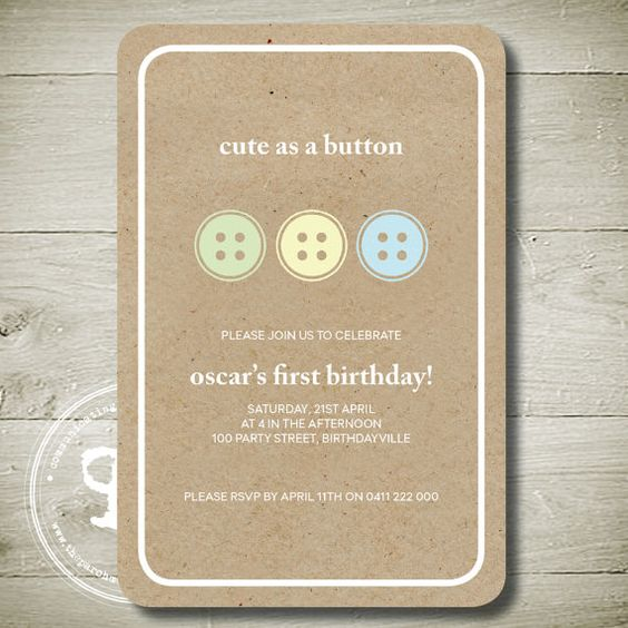 Cute as a Button  Custom Personalised by theparchmentplace on Etsy, $12.00 INVITE CHOICE 5- IN GIRL COLORS