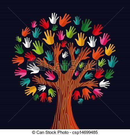 Vetor - Multi,  social, árvore, solidariedade, mãos - estoque de ilustração, ilustrações royalty free, banco de ícone clip arte, banco de ícones clip arte, fotos EPS, fotos, gráfico, gráficos, desenho, desenhos, imagem vetorial, arte vetor EPS.