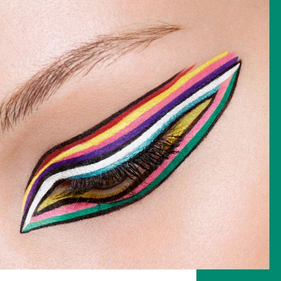 Dare to wear this rainbow eyeliner look 🌈! Which shade will be your essential?  From top to bottom:  #DIORSHOW ON STAGE LINER 091 Matte Black, 861 Matte Red, 541 Matte Yellow, 851 Matte Pink, 176 Matte Purple, 001 Matte White, 351 Pearly Turquoise, 461 Matte Pop Green  #diormakeup #diorshowbackstage