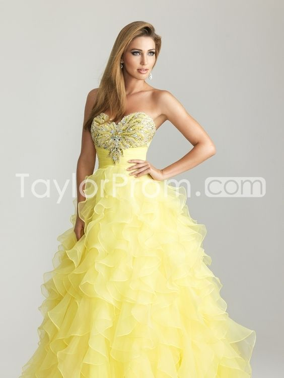 2014 Beaded Strapless Sweetheart Natural Waist Organza Prom Dress