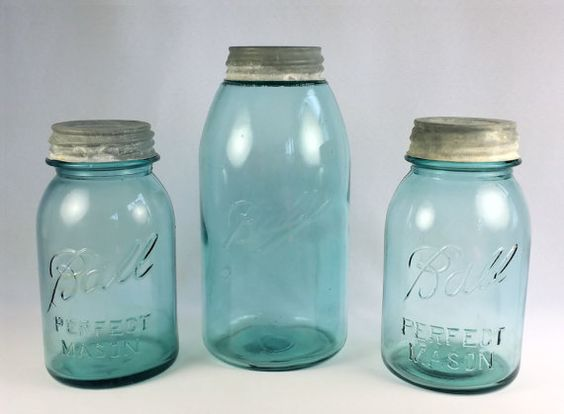 3 Blue Ball Perfect Mason Canning Jars w by WeStartedWithAMouse