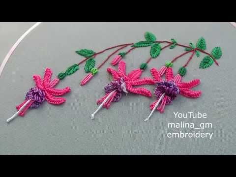 Amazing Embroidery How To Embroider Fuchsia Brazilian Flower Embroidery Malina Gm Embroidery Flowers Brazilian Embroidery Stitches Brazilian Embroidery