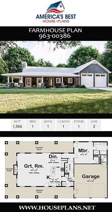 House Plan 963 00386 Farmhouse Plan 1 366 Square Feet 1 Bedroom 1 5 Bathrooms Porch House Plans Barn House Plans Affordable House Plans