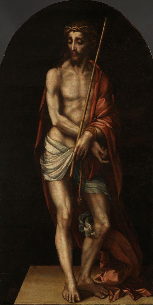 Ecce Homo, Luis de Morales. Oil on oak panel, 182 x 94 cm, c. 1565. Lisbon, Museu Nacional de Arte Antiga
