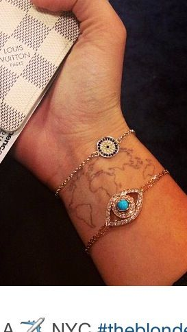 Map tattoo. Love this idea...mark dots where you've visited!