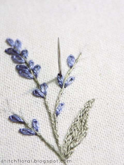 Lavender Embroidered Miniature Floral Embroidery Patterns Embroidery Flowers Pattern Hand Embroidery Art