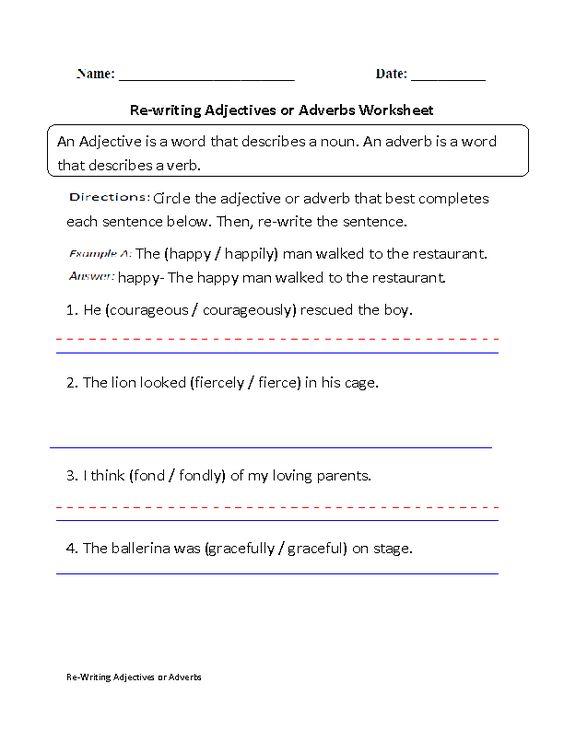 re writing adjectives or adverbs worksheet part 1 beginner grammar and punctuation pinterest. Black Bedroom Furniture Sets. Home Design Ideas